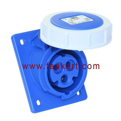 Picture of Panel Mounted Socket Angled 16amp 3pin 230v IP67