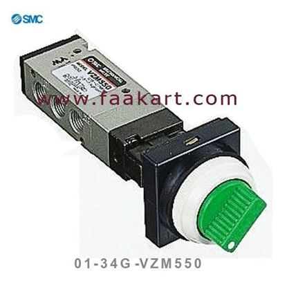 """Picture of VZM550-01-34G SMC Mechanical valve 1/8"""" Red Color"""