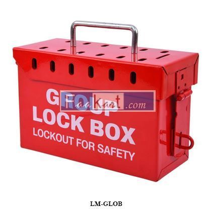Picture of LM-GLOB Group Lockout Box Red Color - Portable metal lock box made of heavy duty steel
