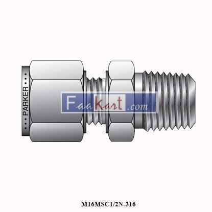 "Picture of M16MSC1/2N-316 PARKER Connector, NPT Male, 16mmOD tube x 1/2"" NPT, SS316, A-LOK"