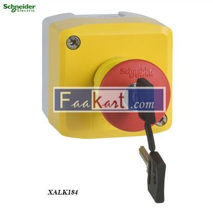 Picture of XALK184  Yellow station - 1 red mushroom head pushbutton