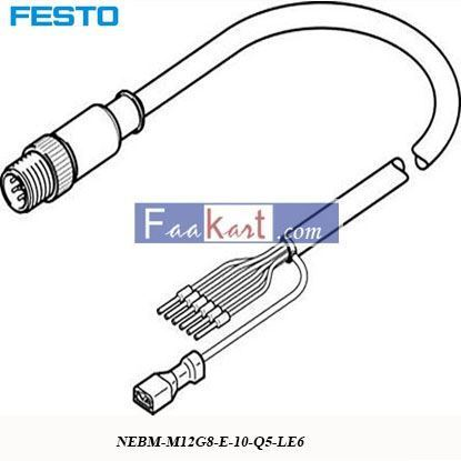 Picture of NEBM-M12G8-E-10-Q5-LE6  FESTO COMMO-ST Motor Cable