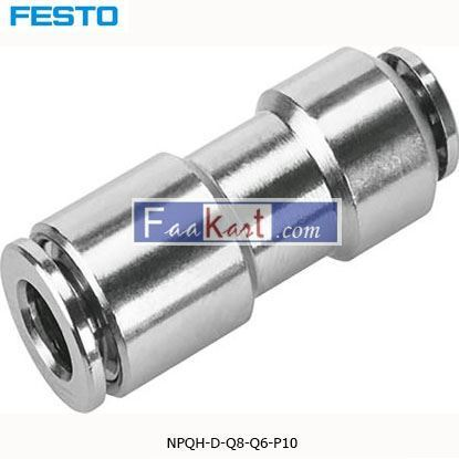 Picture of NPQH-D-Q8-Q6-P10  Festo NPQH Pneumatic Straight Tube-to-Tube Adapter