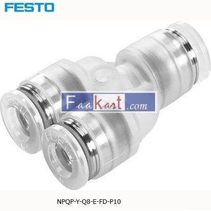 Picture of NPQP-Y-Q8-E-FD-P10 Festo NPQP Pneumatic Y Tube-to-Tube Adapter